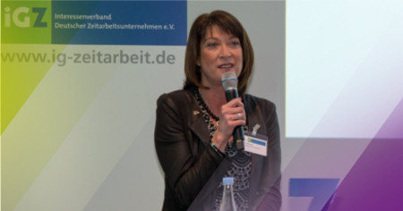 Manuela Schwarz beim 1. iGZ-Forum Marketing in Münster zum Thema Marketing in der Zeitarbeit